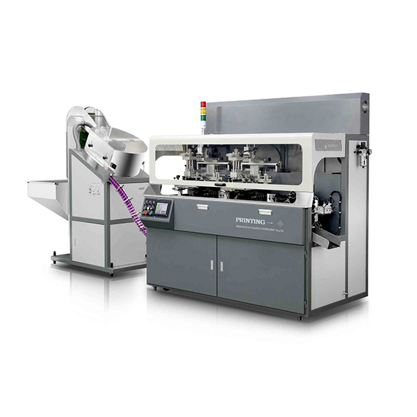 SXAE-107-31 Fully Automatic Chain Type 3 color Screen Printing and 1 Hot Stamping Machine For Caps